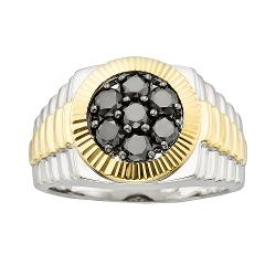 10k Gold and Sterling Silver - 1 1/4-ct. T.W. Black Diamond Ring