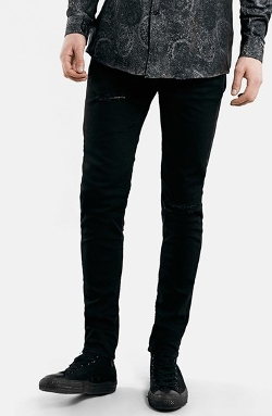 Topman  - Ripped Stretch Skinny Fit Jeans