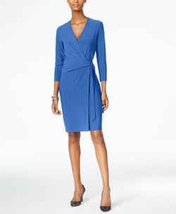 Anne Klein - Faux-Wrap Dress