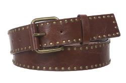 Beltiscool - Snap On Antique Circle Metal Studded Leather Belt