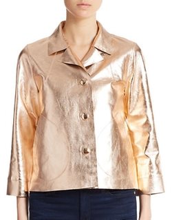 Essentiel - Metallic Leather Jacket