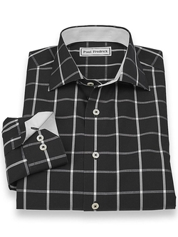 Paul Fredrick - Windowpane Cutaway Collar Sport Shirt