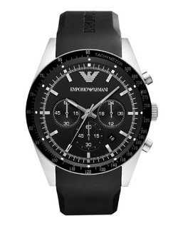 Emporio Armani  - Mens Black Round Chronograph Watch