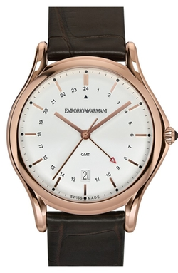 Emporio Armani Swiss Made - GMT Leather Strap Watch