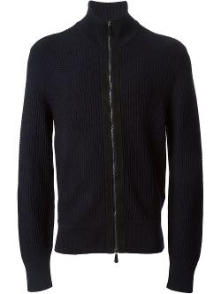 Tom Ford  - Lambskin Trim Zip Cardigan