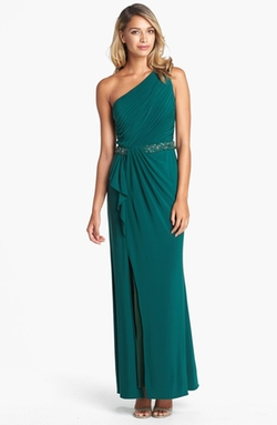 JS Boutique - Beaded Waist One-Shoulder Jersey Gown
