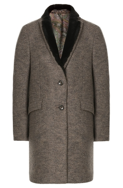 Etro - Wool Coat With Shearling Collar
