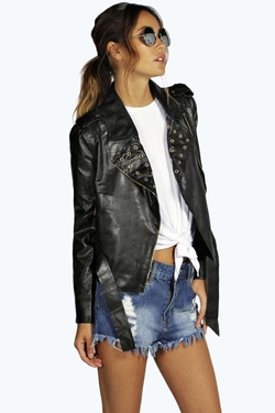 Boohoo Boutique  - Laura Eyelet Leather Look Biker Jacket