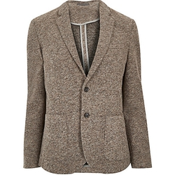 River Island - Brushed Wool-Blend Slim Blazer
