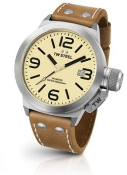 TW Steel - Canteen Stainless Steel & Leather Strap Watch
