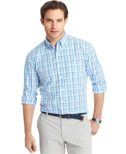 Izod - Lightweight Poplin Plaid Shirt