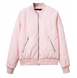 Shein - Classic Quilted Short Bomber Jacket
