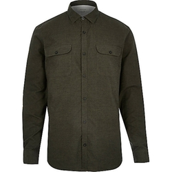 River Island - Green Brushed Flannel Two Pocket Shirt