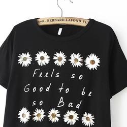 Romwe - Daisy Print Crop T Shirt