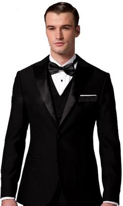 Custom Made - Solid Black Silm Fit Suit Three-Piece Tuxedo Suit