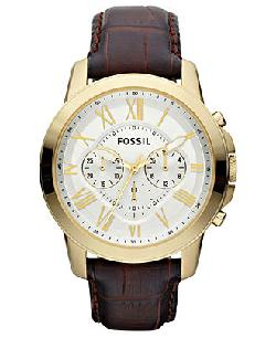 Fossil Watch - Chronograph Grant Brown Croc Embossed Leather Strap 44mm