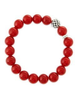Lagos - Caviar-Ball Red Agate Beaded Stretch Bracelet