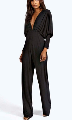 Boohoo Night  - Kayla Plunge Neck Batwing Jumpsuit
