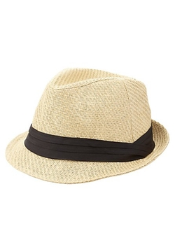 Charlotte Russe - Ruched Band Straw Fedora Hat