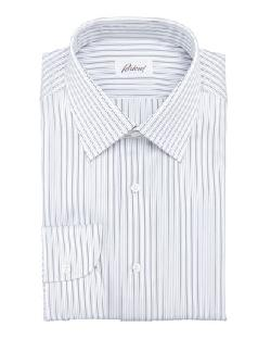 Brioni  - Striped Dress Shirt, Navy/White