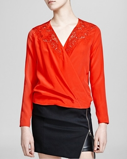The Kooples - Broderie Anglaise Silk Crepe de Chine Top