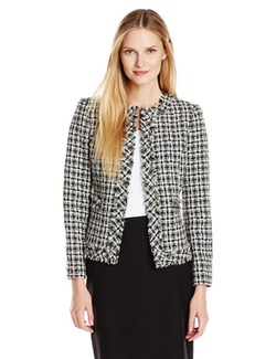 Kasper - Plaid Tweed Collarless Jacket