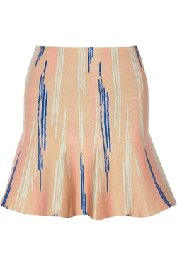 Issa - Printed Stretch- Jacquard Mini Skirt