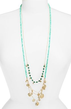 Sequin - Long Charm Beaded Necklace