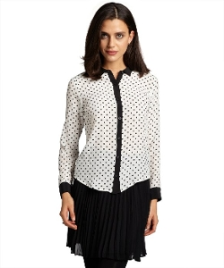 Wyatt - Polka Dot Silk Long Sleeve Blouse