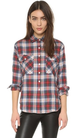 R13 - Zipper Back Japanese Plaid Shirt