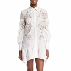 Roberto Cavalli - Long-Sleeve Feather-Print Shirtdres