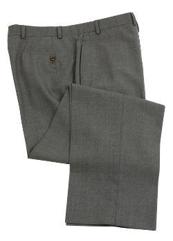Ralph Lauren  - Flat Front Solid Medium Gray Wool Dress Pants