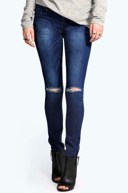 Boohoo - Evie Low Rise Skinny Rip Jeans