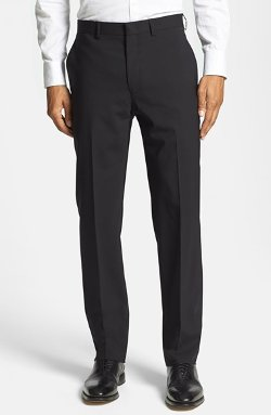 Michael Kors  - Flat Front Stretch Wool Trouser Pants