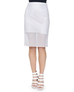 Nanette Lepore - Easy Breezy Mesh Striped Pencil Skirt