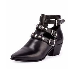 Saint Laurent - Three-Strap Leather Ankle Boots
