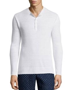 Michael Kors  - Linen-Blend Ribbed Henley Shirt