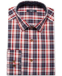 Bar III Carnaby Collection  - Navy and Crimson Plaid Dress Shirt