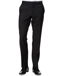 Burberry London   - Flat-Front Wool/Mohair Trouser Pants