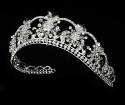 Melissa Kay Collection - Silver-Tone Black Crystals Flower Tiara