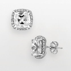 DiamonLuxe  - Sterling Silver Diamond Halo Stud Earrings