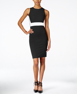 Bar III - Sleeveless Colorblocked Sheath Dress