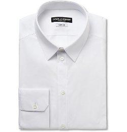 Dolce & Gabbana   - White Gold-Fit Cotton-Blend Shirt