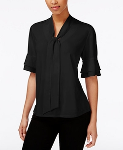 NY Collection - Elbow-Sleeve Tie-Front Blouse