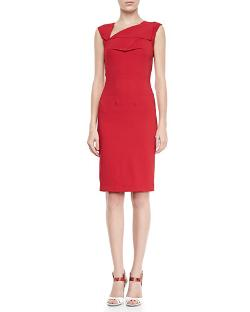 Roland Mouret   - Skiffins Asymmetric V-Neck Sheath Dress