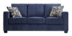 Handy Living - ierre Sofa Federal Blue with Brown Modern Leaf Pillows