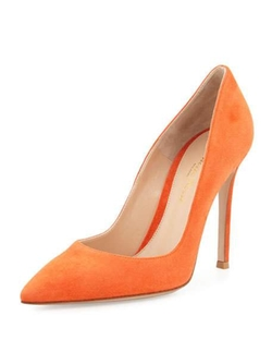 Gianvito Rossi - Suede Pointed-Toe Pumps