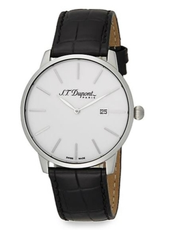 S.T. Dupont  - Stainless Steel & Embossed Leather Watch