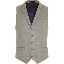 River Island - Light Grey Smart Check Vest