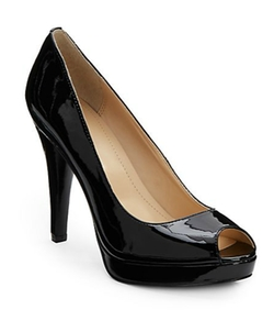 Calvin Klein  - Sandie Patent Leather Open-Toe Pumps